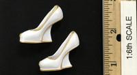 Miss 2B's Lace Cheongsam Set - Wedge High Heels (White)