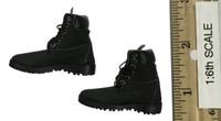 Leather Sleeveless Motorcycle Jacket Set (Female) - Boots (For Feet)