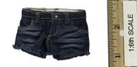 Leather Sleeveless Motorcycle Jacket Set (Female) - Cutoff Shorts
