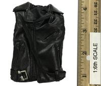 Leather Sleeveless Motorcycle Jacket Set (Female) - Leather Sleeveless Moto Jacket