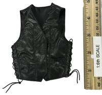 Leather Sleeveless Motorcycle Jacket Set (Male) - Leather Sleeveless Moto Jacket