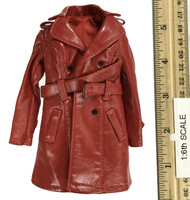 The Queen Style Leather Suit Set - Leather Coat (Red)