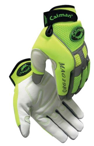 Caiman® Hi-Visibility Goatskin Leather Mechanics Gloves  ## 2980 ##