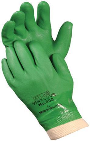 ATLAS® Vinylove™ Green PVC Dipped Gloves  ## 605 ##
