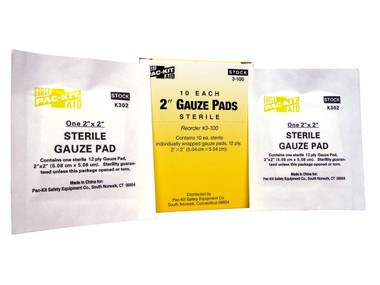 "2"" X 2"" Sterile Gauze Pads - Box of 10  ##3-100 ##"