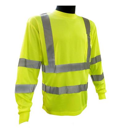 Hi-Vis Breathable Knit Class 3 Lime Green Long Sleeve T-Shirt ##G935 ##