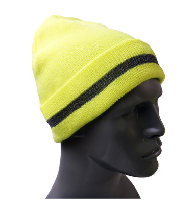 Hi-Vis Knit Lime Green Hat with Reflective ##KC405 ##