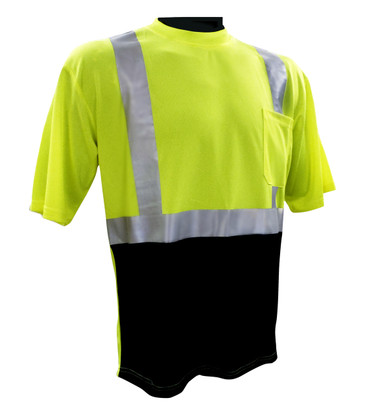Hi-Vis Class 2 Reflective Safety Shirt - Safety Lime Green / Black Bottom ##BBG820G ##