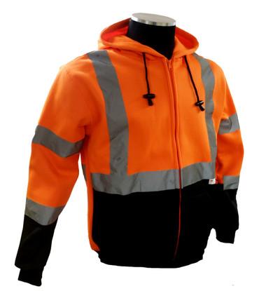 Hi-Vis Orange/Black Hoodie Sweatshirt, ANSI / ISEA 107-2010 Class 3 Compliant ##75-5326 ##
