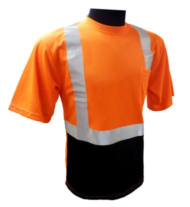Hi-Vis Class 2 Reflective Safety Shirt - Safety Lime Orange / Black Bottom ##BBO820 ##
