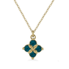 Ethical London Blue Topaz and Recycled White Gold Flower Necklace