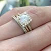Laura Preshong Ethical Engagement Ring - Cynthia Ethical Diamond Halo Ring and Chelsea Wedding Band