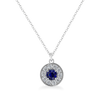 Ethical Sapphire and Diamond Halo Necklace