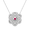 Lotus Sterling Silver Pink Tourmaline Necklace