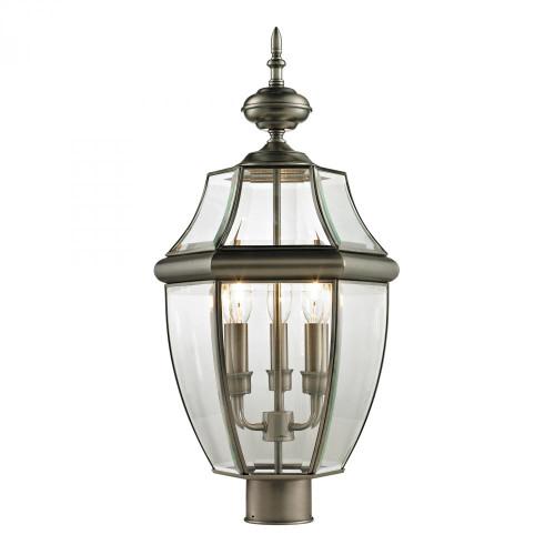 Ashford 3 Light Exterior Post Lantern In Antique 13x23 8603EP/80