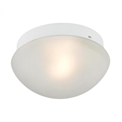 1 Light Mushroom Flushmount In White 7351FM/40