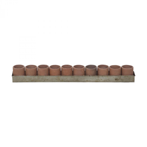 Brown Large Terra Cotta Tea Light Ring In Natural Terra Cotta And Aged Tin 2015517
