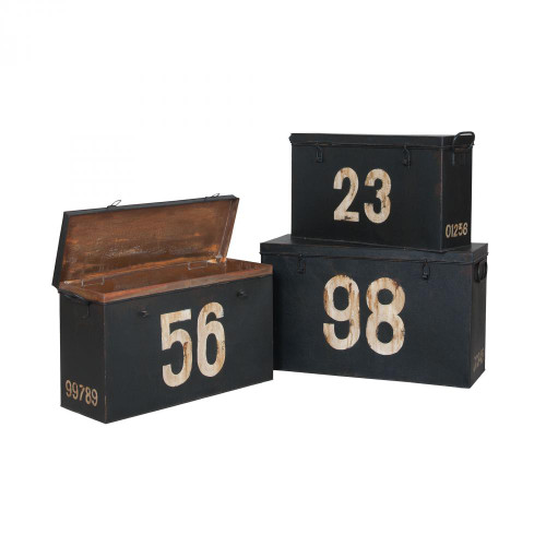 Antique Tin Boxes In Signature Black With White Graphics - Set of 3 2015518S