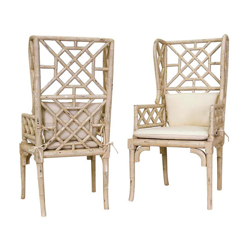 Cream Bamboo Wing Back Chair 657530PCR