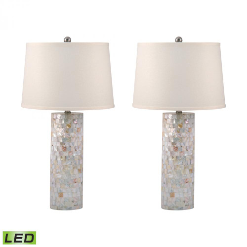 Mother of Pearl Cylinder LED Table Lamps - Set of 2 812/S2-LED