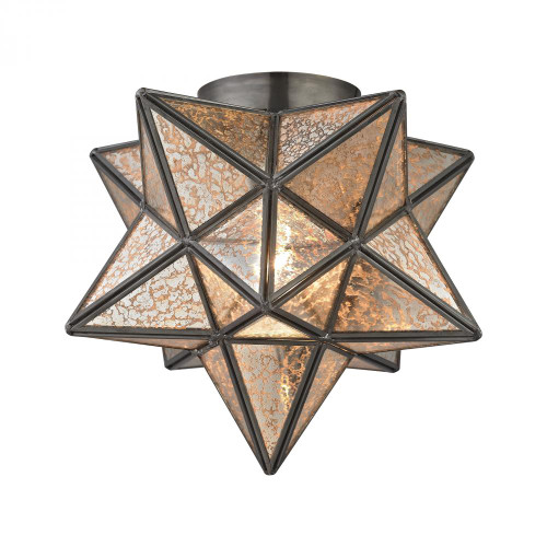 Sirius Oiled Bronze 10-Inch Metal Flush Mount With Antiqued Mercury Glass 1145-004