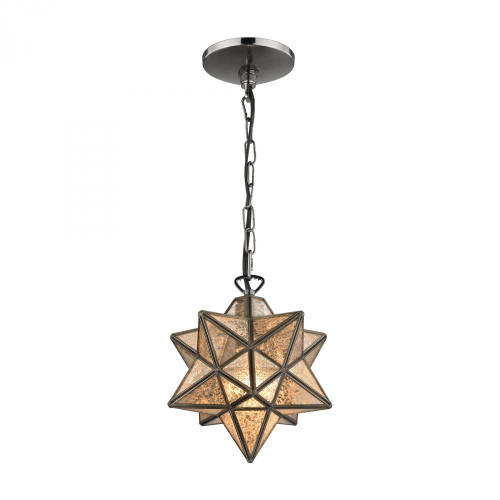 Sirius Oiled Bronze 9-In Metal Pendant with Antiqued Mercury Glass 1145-009