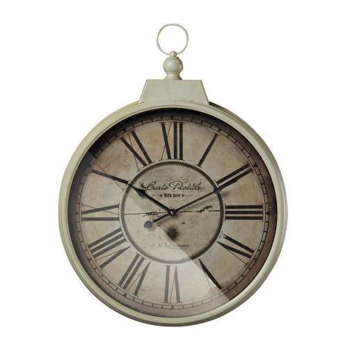 Carte Postal Clock With Antique Cream Metal Frame 118-042
