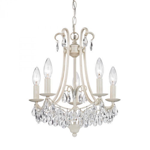 Mini Chandelier In Antique Cream And Clear 122-021