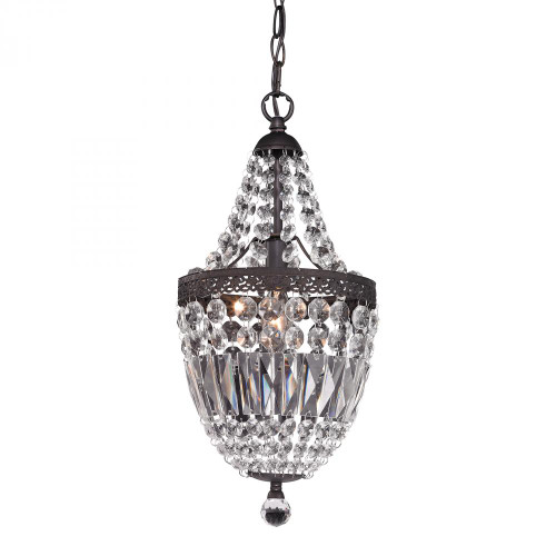 Mini Chandelier In Dark Bronze And Clear 122-026