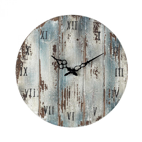Blue Wooden Roman Numeral Outdoor Wall Clock. 16x16 128-1008