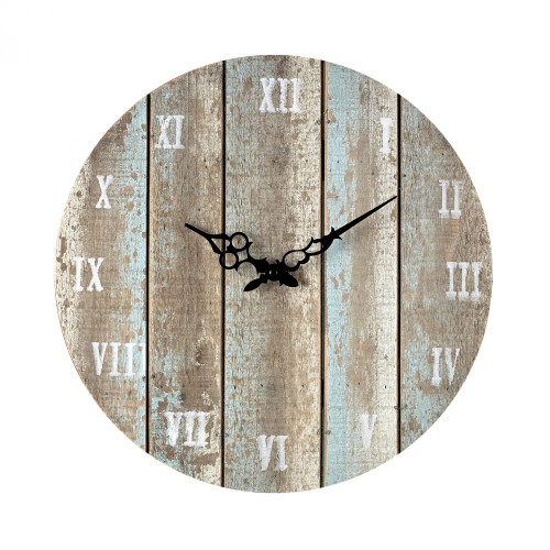 Blue Wooden Roman Numeral Outdoor Wall Clock. 16x16 128-1009