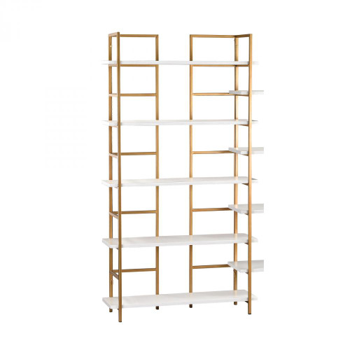 White and Gold Shelving Unit 351-10204