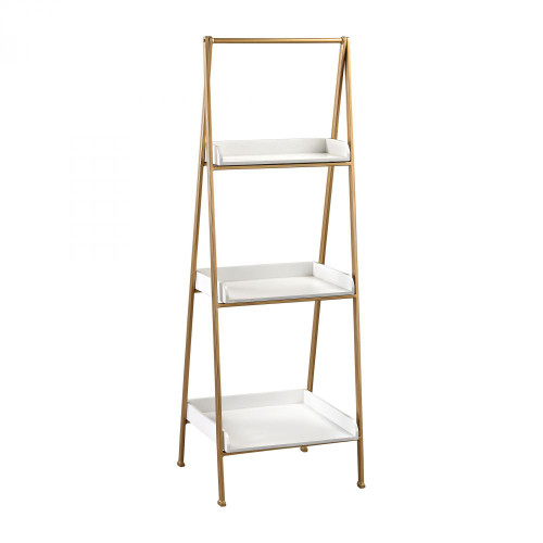 White and Gold Accent Shelf 351-10205