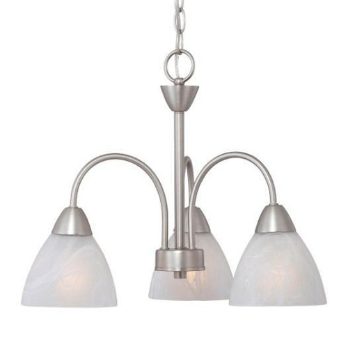Three-light chandelier in Matte Nickel finish with etched swirl glass. 190005117