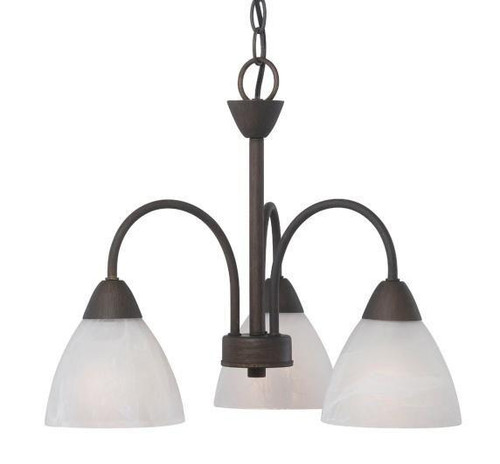 Three-light chandelier in Painted Bronze finish with etched swirl glass. 190005763
