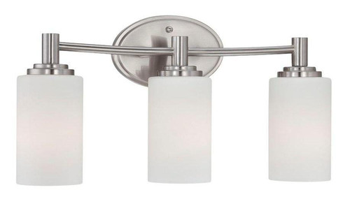Pittman 9.75in Three-light bath fixture in Brushed Nickel finish with etched glass 190024217