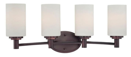 Four-light bath fixture in Sienna Bronze finish with etched glass. 190025719