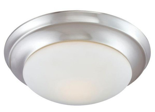 One-light ceiling flush mount in Brushed Nickel finish with etched glass. Includes 13W GU24 lamp (12 190034217