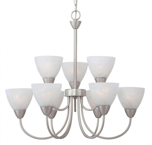 Nine-light chandelier in Matte Nickel finish with etched swirl glass. 190036117