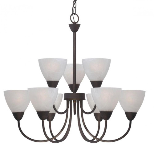 Nine-light chandelier in Painted Bronze finish with etched swirl glass. 190036763