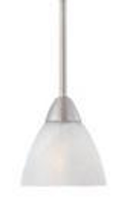 One-light mini-pendant in Matte Nickel finish with etched swirl glass. 190056117