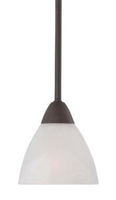 One-light mini-pendant in Painted Bronze finish with etched swirl glass. 190056763