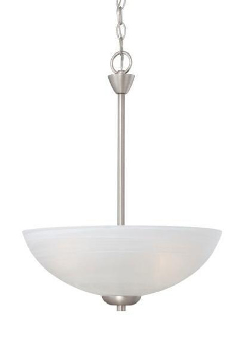 Three-light pendant in Matte Nickel finish with etched swirl glass. 190058117