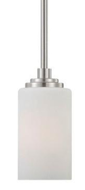 Pittman 7.5in One-light mini-pendant in Brushed Nickel finish with etched glass 190060217