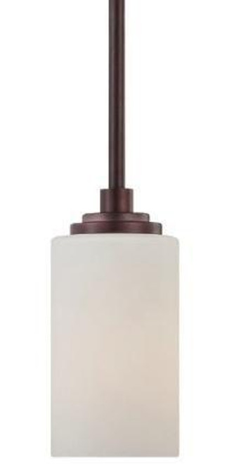 One-light mini-pendant in Sienna Bronze finish with etched glass. 190060719
