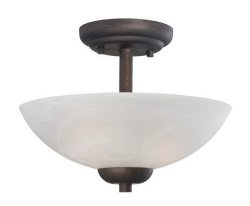 Two-light pendant or ceiling semi-flush (convertible) in Painted Bronze finish with etched swirl glass 190067763