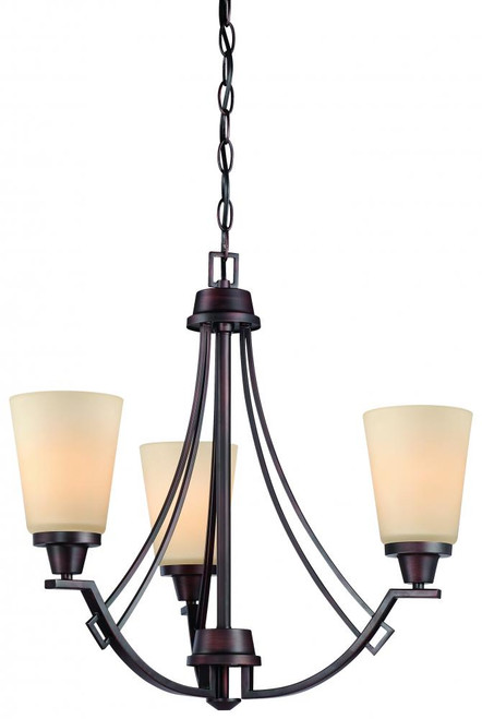 Wright 0in Three-light chandelier in Espresso finish with painted champagne glass 190109704