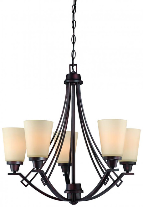 Five-light chandelier in Espresso finish with painted champagne glass. 190110704