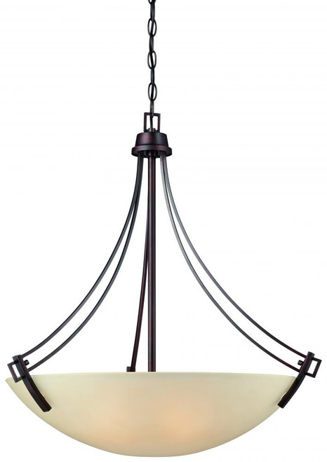 Four-light pendant in Espresso finish with Champagne glass shade. 190112704