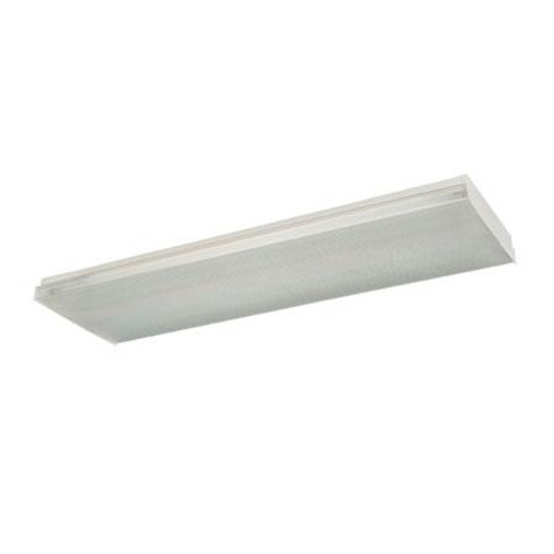 Four-light surface mount fluorescent wrap around with clear prismatic acrylic lens. 12V electronic FWN432EB